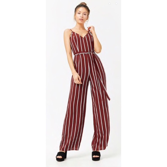 c687bce1301 Forever 21 Pants - Maroon Striped Jumpsuit